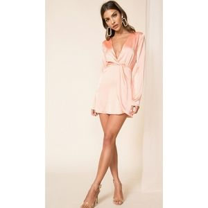 Superdown Armelle Wrap Dress Peach